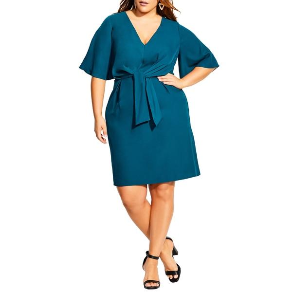 シティーシック レディース ワンピース トップス City Chic Knot Front Dress (Plus Size) Teal