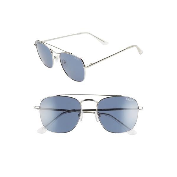 クアイオーストラリア メンズ サングラス・アイウェア アクセサリー Quay Australia Helios 55mm Polarized Navigator Sunglasses Silver/Navy
