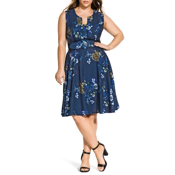 シティーシック レディース ワンピース トップス City Chic Himari Floral Fit & Flare Dress (Plus Size) Himari Floral