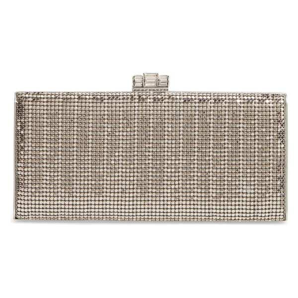 ホワイティングアンドデイビス レディース クラッチバッグ バッグ Whiting & Davis Crystal Embellished Metallic Mesh Clutch Pewter