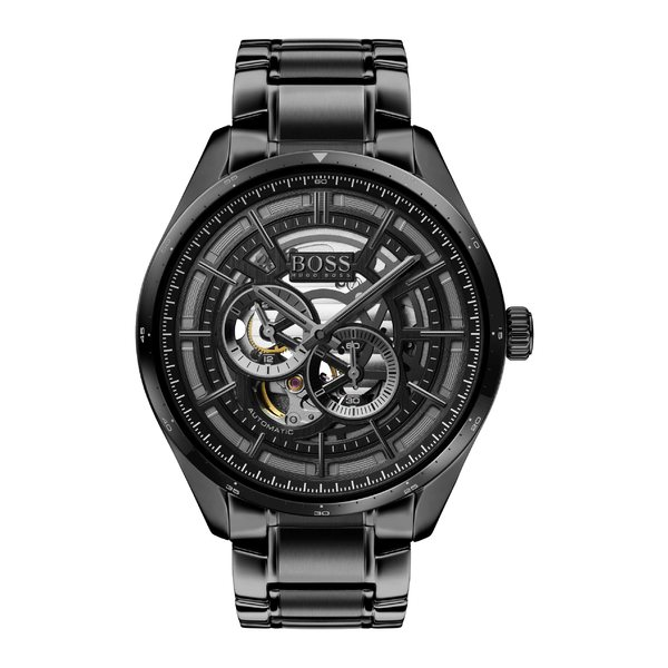 ボス メンズ 腕時計 アクセサリー BOSS Grand Prix Automatic Bracelet Watch, 44mm Black