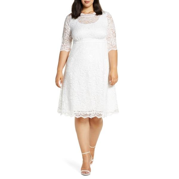キヨナ レディース ワンピース トップス Kiyonna Pretty in Lace Cocktail Dress (Plus Size) Ivory