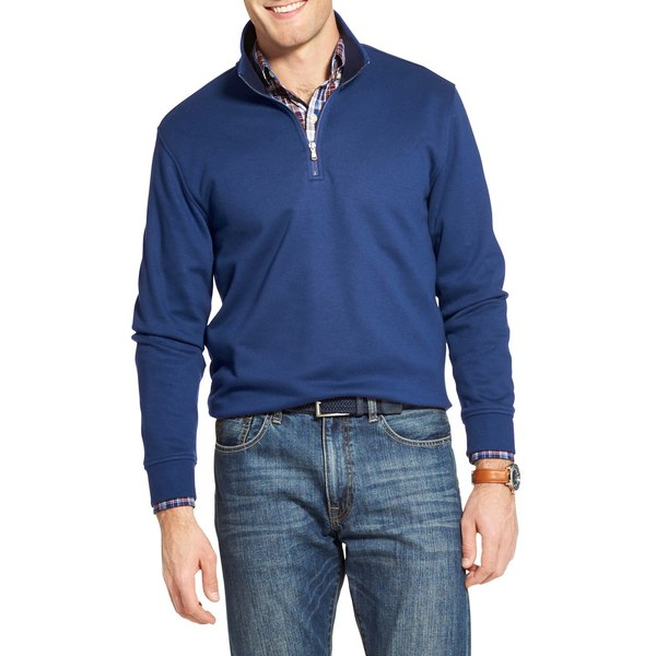 アイゾッド メンズ シャツ トップス Advantage Performance Quarter-Zip Sweater True Blue