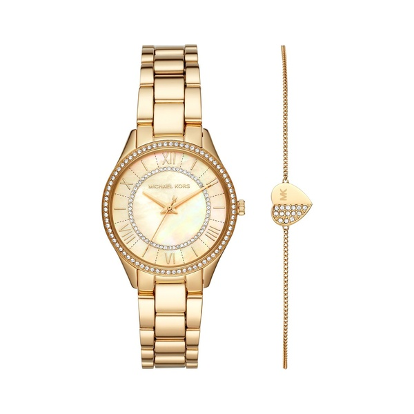 マイケルコース レディース 腕時計 アクセサリー Lauryn Goldtone Stainless Steel & Crystal 3-Hand Bracelet Watch Gift Set Gold
