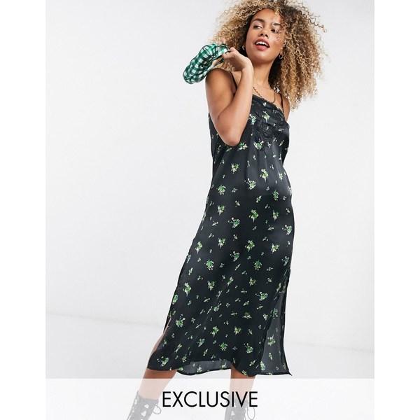 リクレイム ヴィンテージ レディース ワンピース トップス Reclaimed Vintage inspired satin cami midi dress with embroidery detail Multi