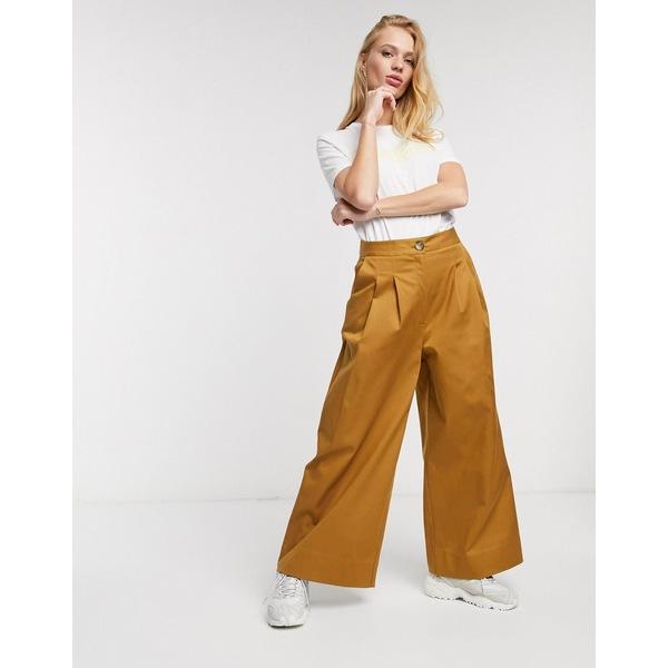 セレクティッド レディース カジュアルパンツ ボトムス Selected milla high waisted wide leg satin tailored pants two-piece in brown Bronze brown