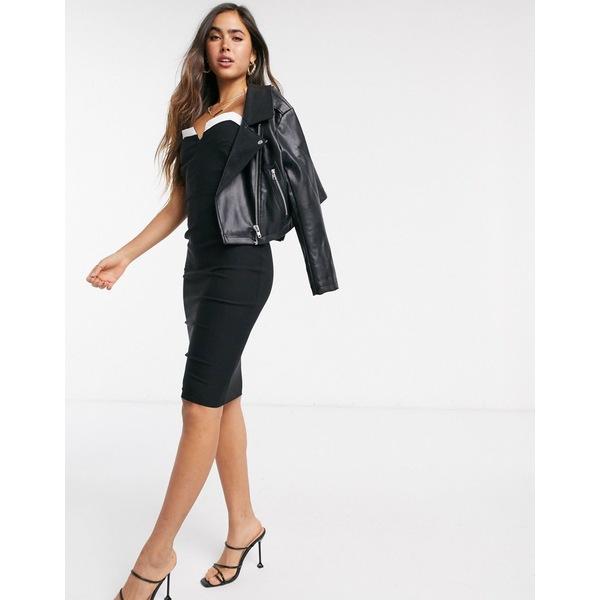 ベスパー レディース ワンピース トップス Vesper bandeau fitted midi dress in black Black
