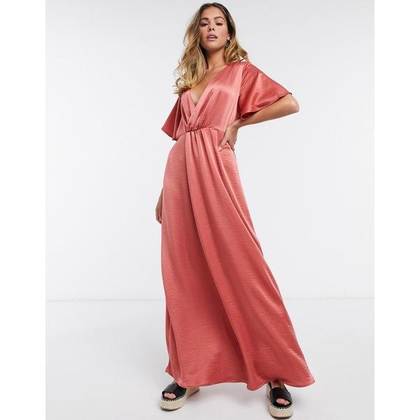 ヴィラ レディース ワンピース トップス Vila satin kimono midi dress in rust Dusty cedar