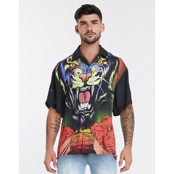 リクレイム ヴィンテージ メンズ シャツ トップス Reclaimed Vintage inspired all over tiger print shirt in black Black