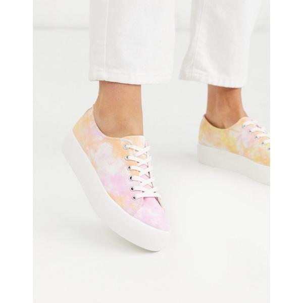 バガボンド レディース スニーカー シューズ Vagabond Peggy tie dye flatform sneakers in pink Pink multi