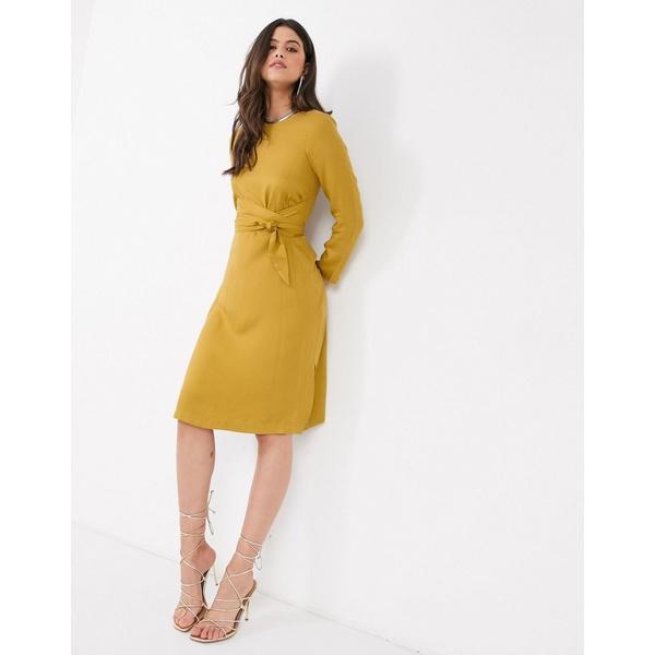 クローゼットロンドン レディース ワンピース トップス Closet tie front A line midi dress in mustard Mustard