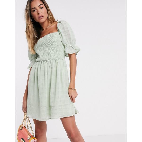 ミスガイデッド レディース ワンピース トップス Missguided shirred textured skater dress in mint Mint