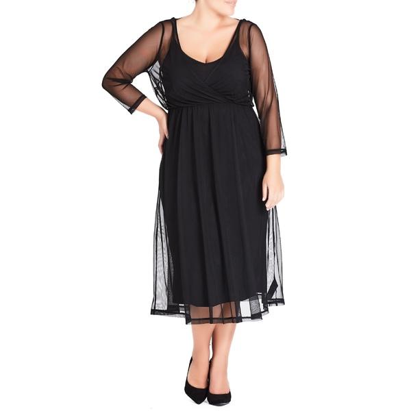 シティーシック レディース ワンピース トップス City Chic Mesh Overlay Dress (Plus Size) Black