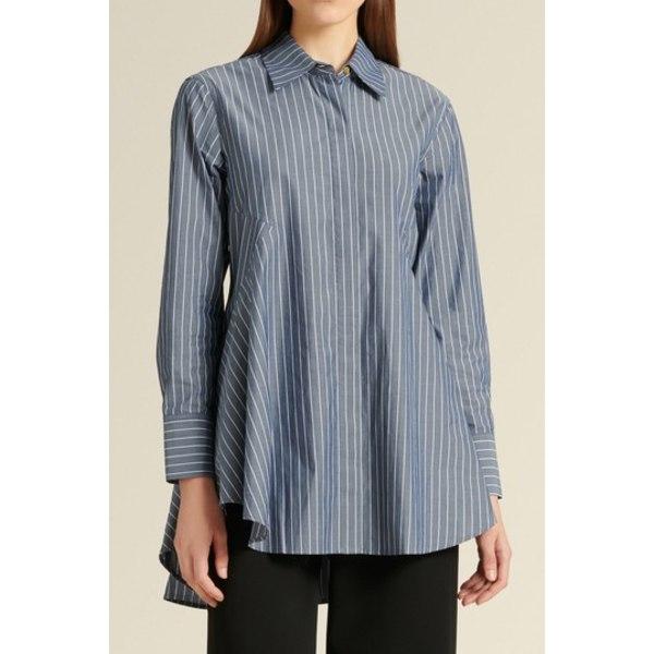 ダナ キャラン ニューヨーク レディース シャツ トップス Paneled Stripe Print Shirt NAVY/WHITE
