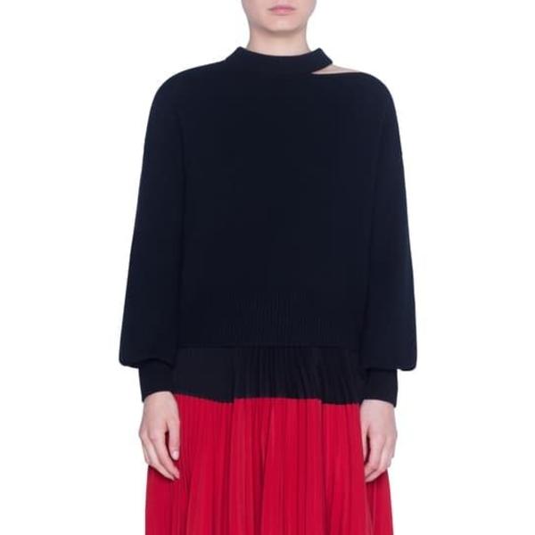 ニット&セーター BLACK Sweater Blend Cashmere & アウター Luna Cut Wool プント アクリス レディース
