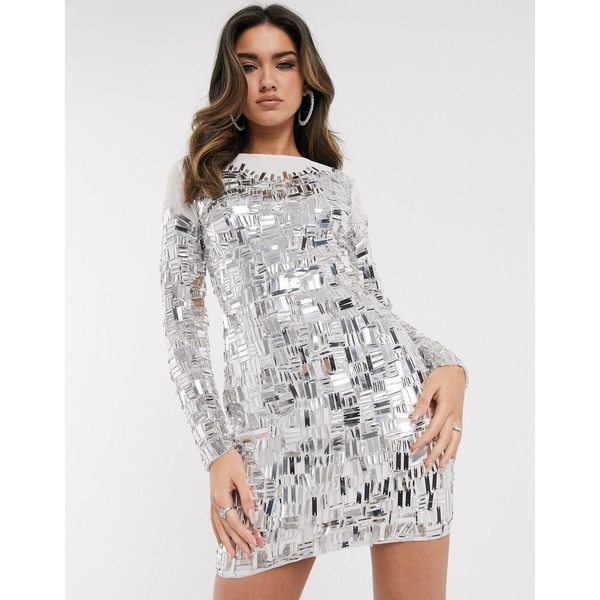 エイソス レディース ワンピース トップス ASOS DESIGN long sleeve mirror look embellished mini dress Silver