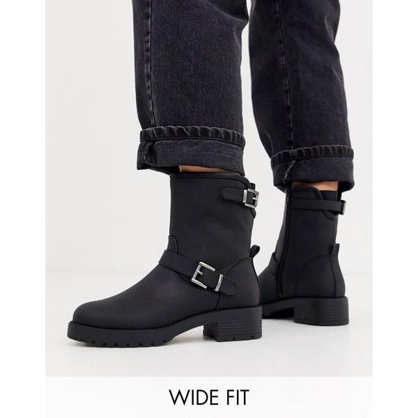 エイソス レディース ブーツ&レインブーツ シューズ ASOS DESIGN Wide Fit August biker boots in black Black