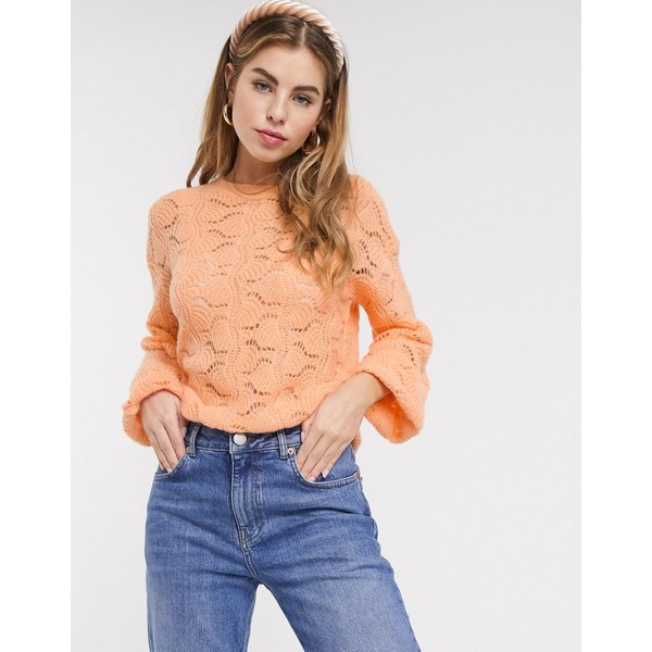 エイソス レディース ニット&セーター アウター ASOS DESIGN pointelle stitch fluffy sweater Peach