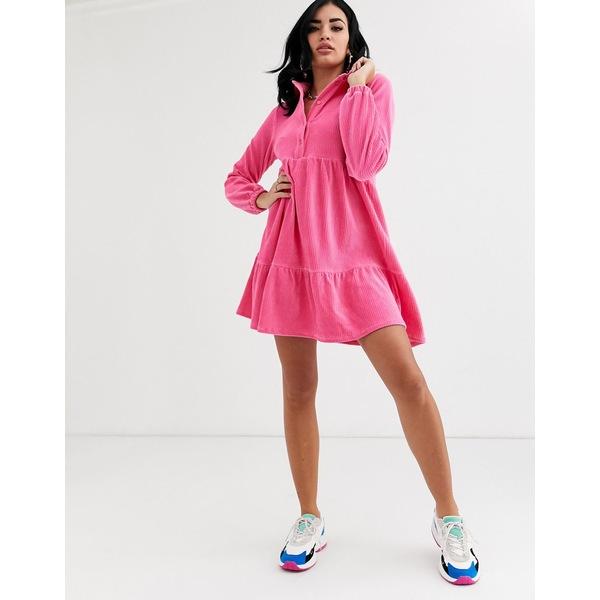 エイソス レディース ワンピース トップス ASOS DESIGN mini cord smock shirt dress in pink Pink