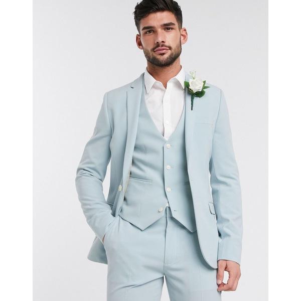 エイソス メンズ ジャケット&ブルゾン アウター ASOS DESIGN wedding super skinny suit jacket in pastel blue Pastel blue