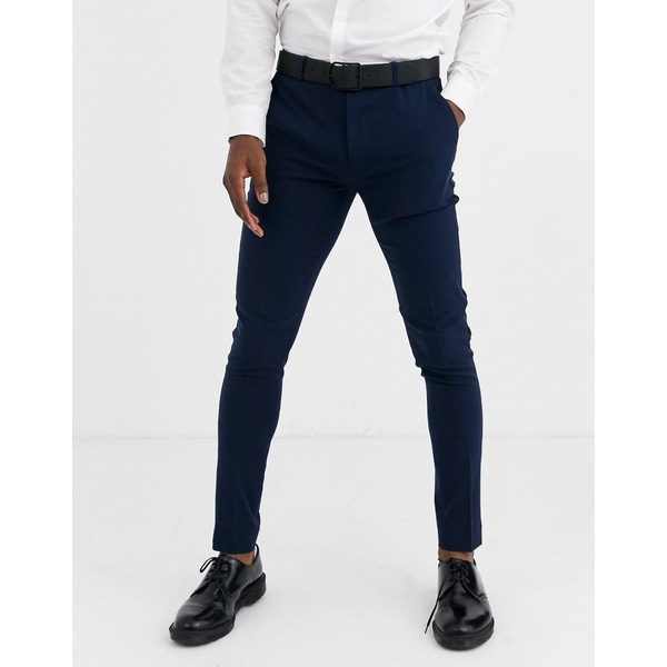 エイソス メンズ カジュアルパンツ ボトムス ASOS DESIGN super skinny tuxedo suit pants in navy Navy