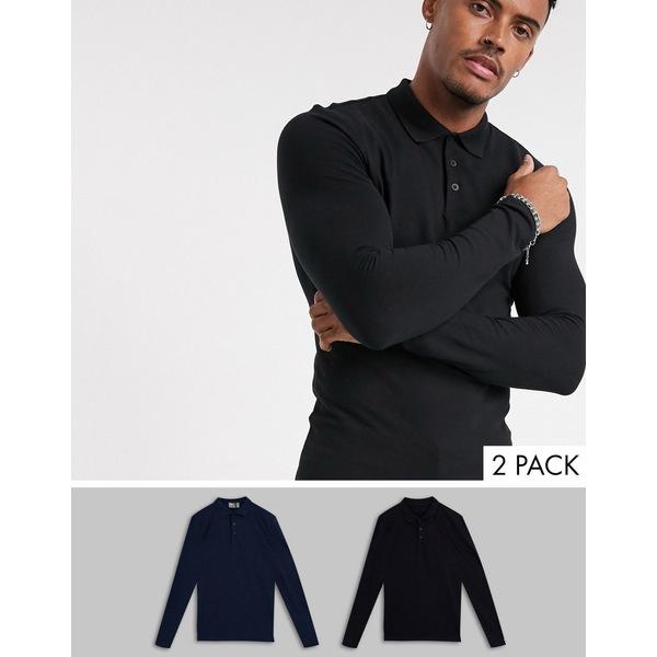エイソス メンズ ポロシャツ トップス ASOS DESIGN 2 pack organic muscle fit long sleeve pique polo save Black/navy
