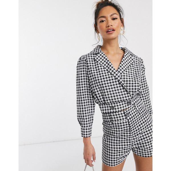 インザスタイル レディース ジャケット&ブルゾン アウター In The Style excluisve cropped blazer jacket two-piece in mono check Mono check