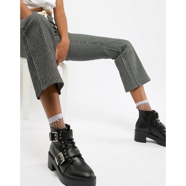 エイソス レディース ブーツ&レインブーツ シューズ ASOS DESIGN Rouge chunky lace up buckle ankle boots Black