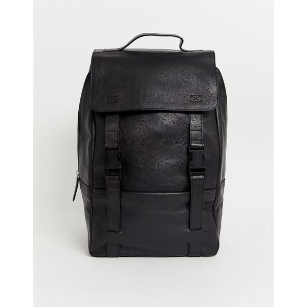 エイソス メンズ バックパック・リュックサック バッグ ASOS DESIGN leather backpack in black with double straps and clip fastening Black