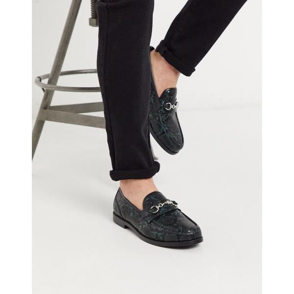 エイソス メンズ スリッポン・ローファー シューズ ASOS DESIGN loafers in faux snake effect leather with snaffle detail Green