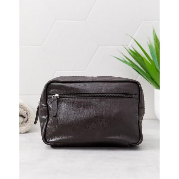 エイソス メンズ 財布 アクセサリー ASOS DESIGN leather toiletry bag in brown with zip detail Brown