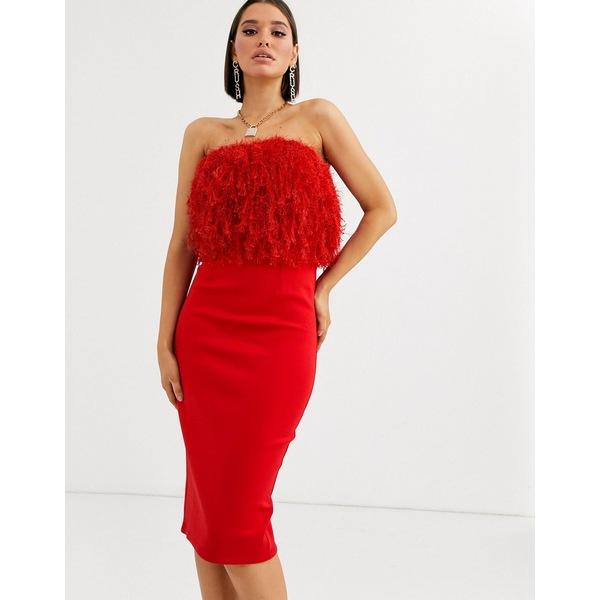 エイソス レディース ワンピース トップス ASOS DESIGN faux feather top bandeau midi dress Red