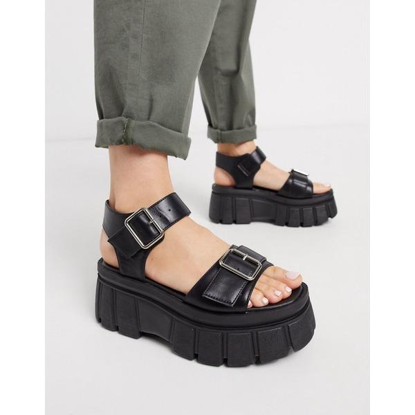 トゥラッフル レディース サンダル シューズ Truffle Collection chunky flatform heeled sandals in black Black pu