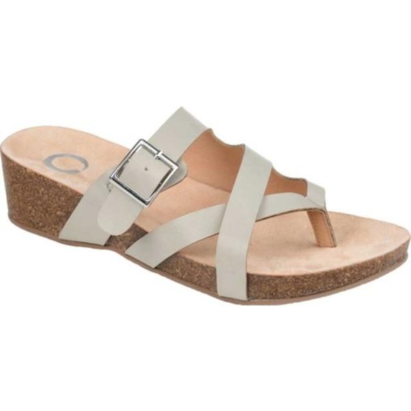 ジャーニーコレクション レディース サンダル シューズ Madrid Wedge Thong Sandal Grey Faux Leather