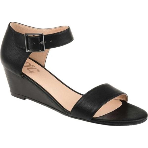 ジャーニーコレクション レディース サンダル シューズ Gladis Wedge Sandal Black Distressed Faux Leather