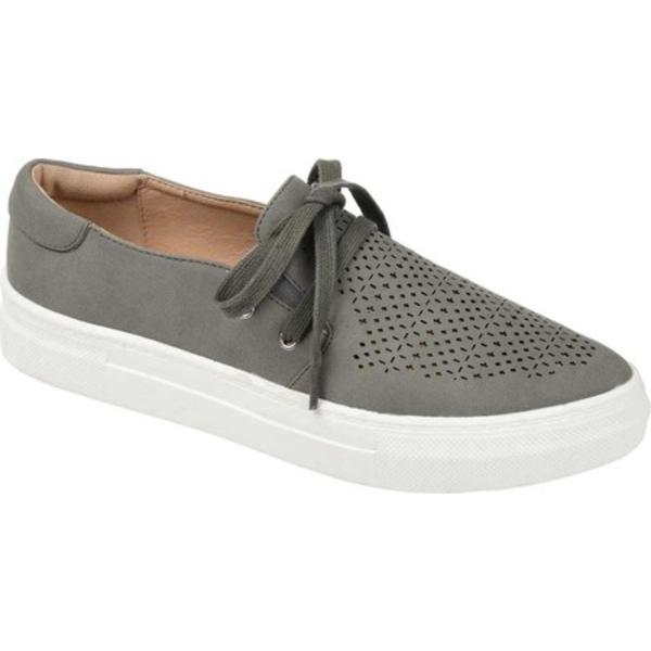 ジャーニーコレクション レディース スニーカー シューズ Shantel Slip On Sneaker Grey Perforated Faux Leather