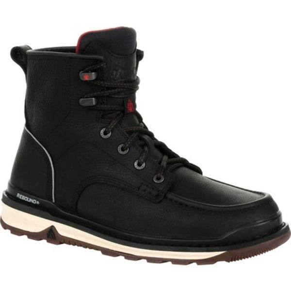 ロッキー メンズ ブーツ&レインブーツ シューズ Rams Horn Unlined Work Boot RKK0305 Black/Tan Full Grain Leather