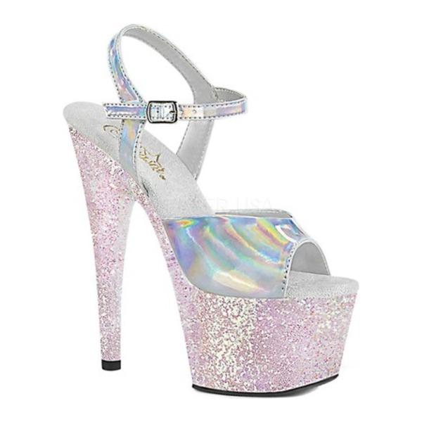 プリーザー レディース サンダル シューズ Adore 709HGG Ankle Strap Sandal Silver Hologram/Opal Multi Glitter Synthetic