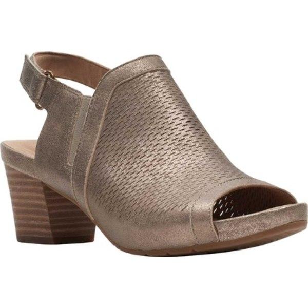 クラークス レディース サンダル シューズ Un Palma Go Peep Toe Sandal Pewter Metallic Full Grain Leather