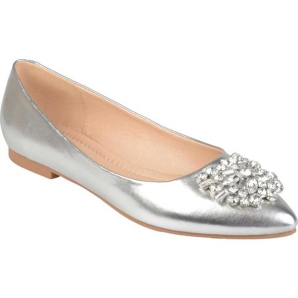 ジャーニーコレクション レディース サンダル シューズ Renzo Ballet Flat Silver Faux Leather
