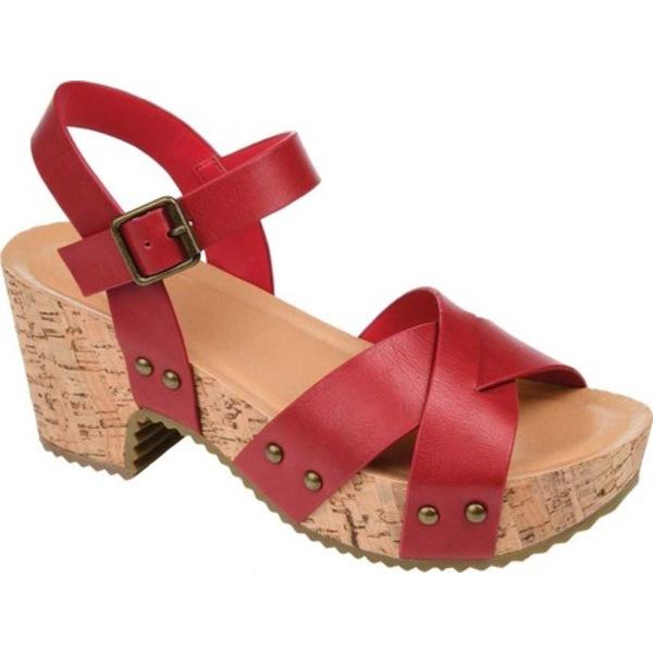 ジャーニーコレクション レディース サンダル シューズ Valentina Quarter Strap Platform Sandal Red Faux Leather