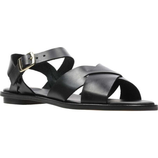 クラークス レディース サンダル シューズ Willow Gild Quarter Strap Flat Sandal Black Leather