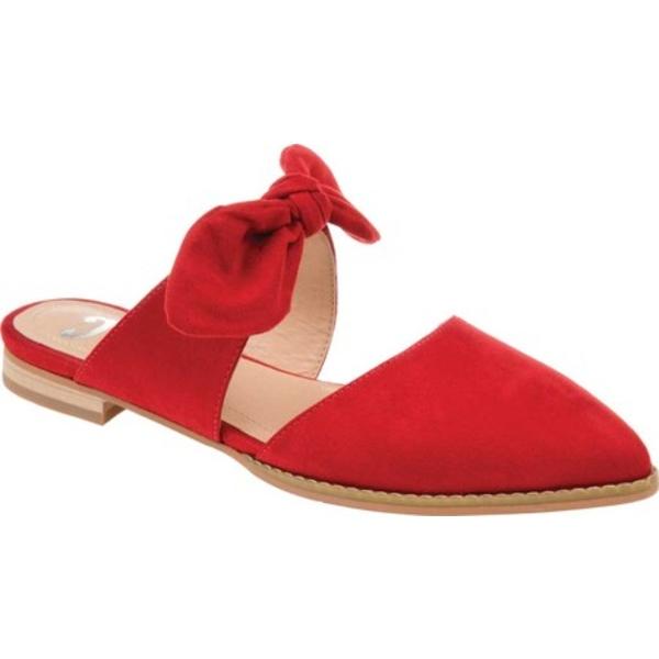 ジャーニーコレクション レディース サンダル シューズ Telulah Pointed Toe Mule Red Microsuede Fabric