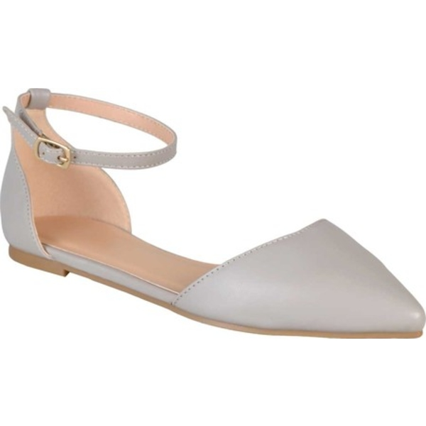 ジャーニーコレクション レディース サンダル シューズ Reba Ankle Strap Flat Grey Faux Leather