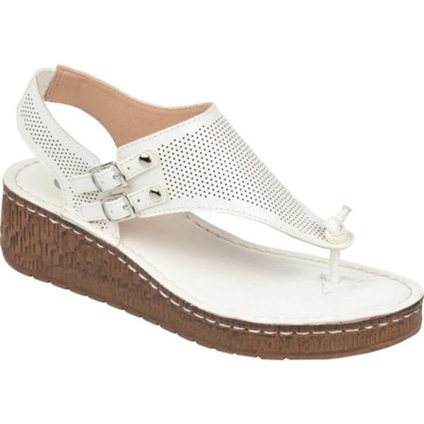 ジャーニーコレクション レディース サンダル シューズ McKell Wedge Thong Sandal White Perforated Faux Leather