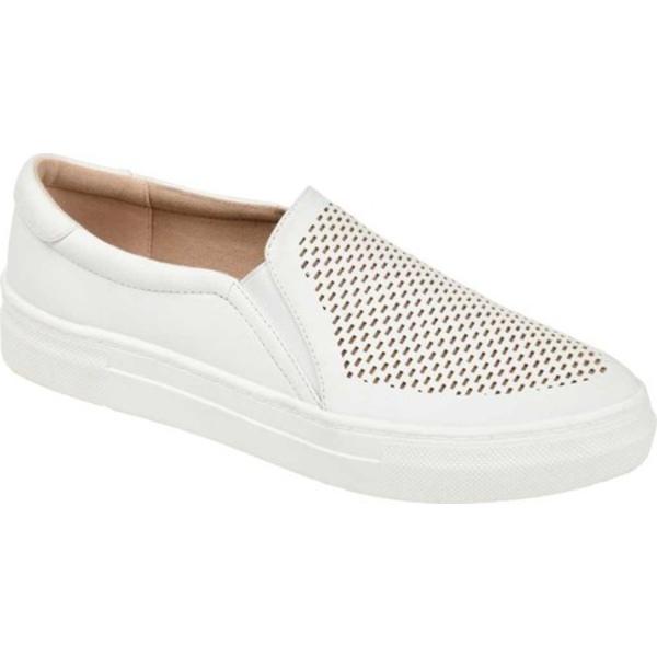 ジャーニーコレクション レディース スニーカー シューズ Faybia Perforated Slip On Sneaker White Faux Leather