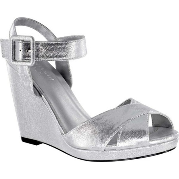 タッチアップ レディース サンダル シューズ Stormy Quarter Strap Wedge Sandal Silver Shimmer Synthetic