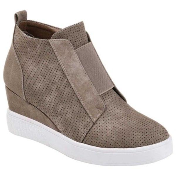 ジャーニーコレクション レディース スニーカー シューズ Clara Wedge Sneaker Taupe Faux Leather
