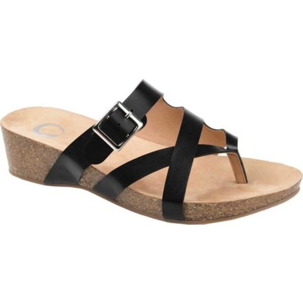 ジャーニーコレクション レディース サンダル シューズ Madrid Wedge Thong Sandal Black Faux Leather