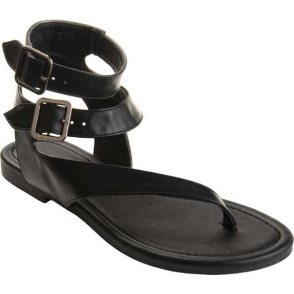 ジャーニーコレクション レディース サンダル シューズ Kyle Ankle Strap Thong Sandal Black Faux Leather